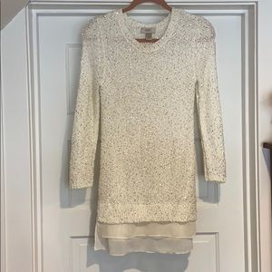 LOFT white knit long waist sweater with sequins